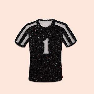 Aplique EVA Glitter Preto 5cm - Camisa de Time de Futebol Número 1- 06 unidades
