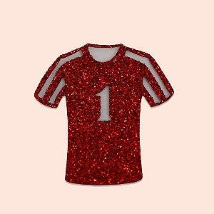 Aplique EVA Glitter Vermelho 5cm - Camisa de Time de Futebol Número 1- 06 unidades