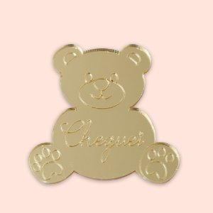 Aplique Acrílico Dourado 5cm - Urso Dourado - 04 unidades
