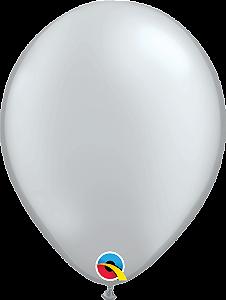 Balão de 11 Polegadas Prata Qualatex - 05 unidades - Kit Teddys