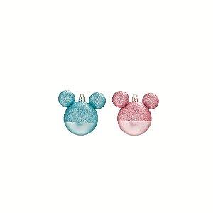 Bola de Natal Disney - Mickey Azul e Minnie Rosa