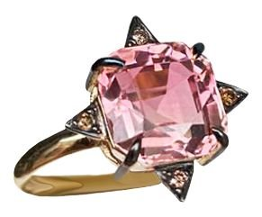 Anel turmalina rosa e diamantes cognac