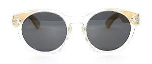 Óculos de Sol de Acetato com Bambu Jasmine White