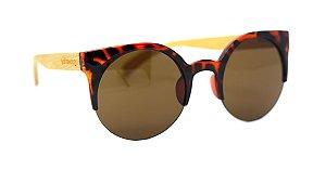 Óculos de Sol de Acetato com Bambu Lolla Turtle