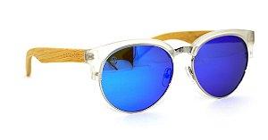 Óculos de Sol de Acetato com Metal e Bambu Lolla White Blue