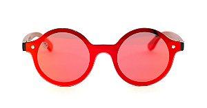 Óculos de Sol de Acetato com Madeira Mulan Red