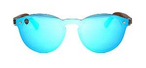 Óculos de Sol de Acetato com Madeira Camorra Blue