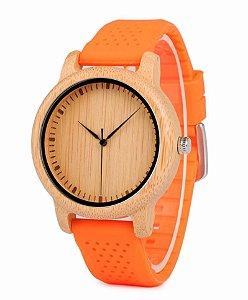 Relógio de Madeira e Bambu MW Jung Orange