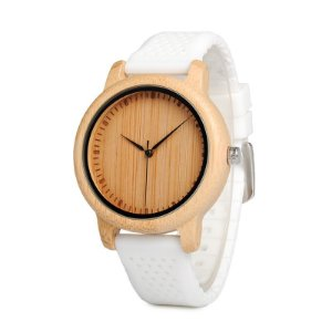 Relógio de Madeira e Bambu Jung White