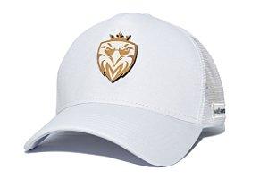 Boné MW Trucker Helanca Branco com Tela Branca - Logo Madeira Branco 3D