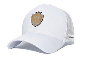 Boné MW Trucker Helanca Branco com Tela Branca - Logo Madeira Cinza