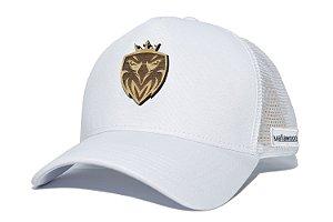 Boné MW Trucker Helanca Branco com Tela Branca - Logo Madeira Dourado 3D