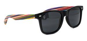 Óculos de Sol de Acetato com Madeira Maranzano  Rainbow