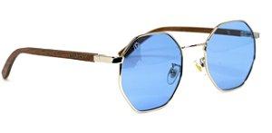 Óculos de Sol de Madeira e Metal Opal Blue