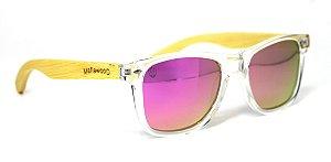 Óculos de Sol de Acetato com Madeira Maranzano Light Pink