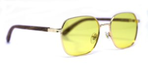 Óculos de Sol de Madeira e Metal Dion Yellow
