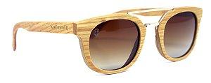 Óculos de Sol de Madeira e Metal Lucchese Brown