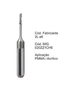 Fresa CAD CAM para Sistemas Zirkonzahn -020ZZ1CH6 - Aplicação: PMMA / Cera