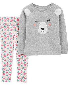 Conjunto Carter's 2 Peças Blusa e Calça Urso Fleece