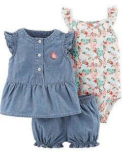 Conjunto Carter's 3 Peças Blusa, Body e Short Floral