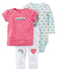 Conjunto Carter's 3 Peças Body, Calça e Camiseta Arco Iris