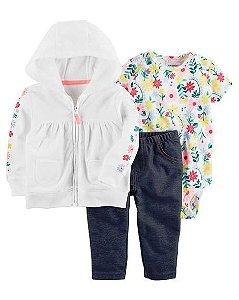 Conjunto Carter's 3 Peças Moletom, Body e Calça Baby Jeans tamanho 18m