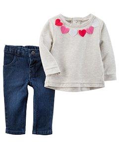 Conjunto Carter's 2 Peças Blusa Coração e Calça Jeans