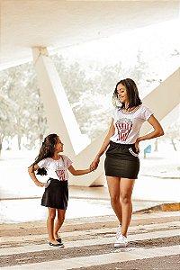T-shirts Mãe e Filha Pop Corn Branca