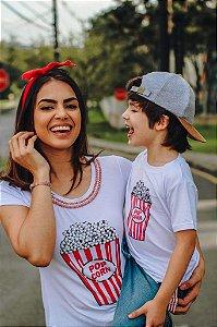 T-shirts Mãe e Filho Pop Corn Branca