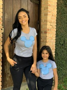T-shirts Mãe e Filha Mickey Cinza Mescla