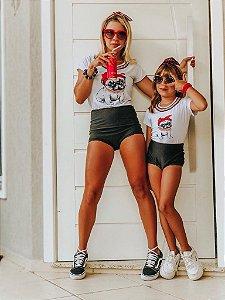 T-shirts Mãe e Filha Cachorrinho Branca