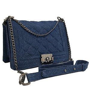 Bolsa Transversal / Tiracolo  Jeans Azul Alça Corrente