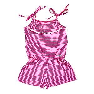 Macaquinho Listrado Infantil Menina Pink