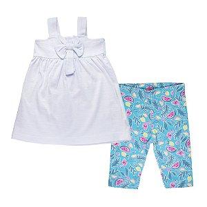 Conjunto Bata com Laço e Bermuda Estampada Infantil Menina Branco