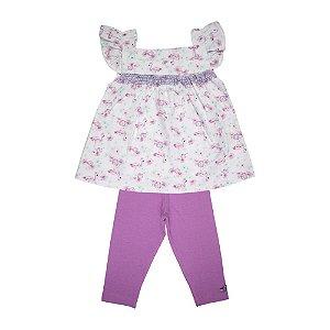 Conjunto Bata e Legging Infantil Menina Lilas