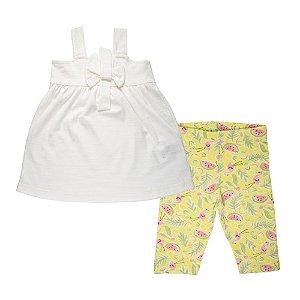 Conjunto Bata com Laço e Bermuda Estampada Infantil Menina Off White