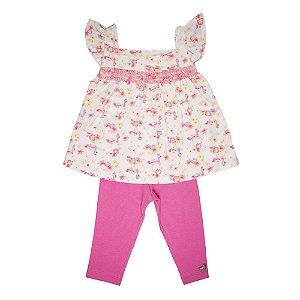 Conjunto Bata e Legging Infantil Menina Pink