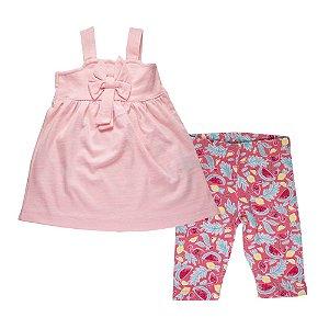 Conjunto Bata com Laço e Bermuda Estampada Infantil Menina Rosa Neon