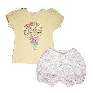 Conjunto Blusa e Bombachinha Infantil Menina Amarelo