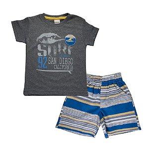 Conjunto Camiseta e Bermuda Surf Infantil Menino Mescla Escuro