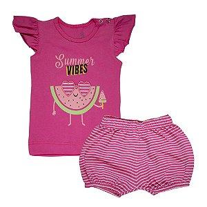 Conjunto Blusa Melancia e Shorts Listrado Infantil Menina Pink