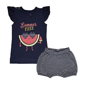 Conjunto Blusa Melancia e Shorts Listrado Infantil Menina Marinho