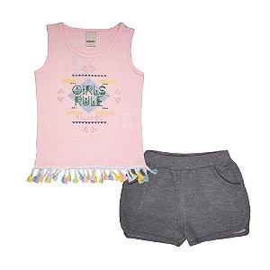 Conjunto Regata e Short Boxeador Infantil Menina Rosa Neon