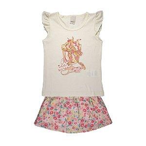 Conjunto Blusa e Saia Cupcake Infantil Menina Off White
