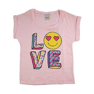 Blusa Infantil Love Menina Rosa Neon