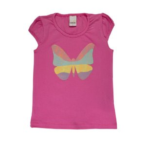 Blusa Infantil Borboleta Menina Rosa