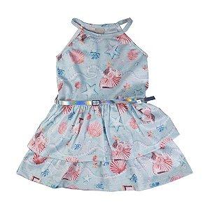 Vestido Conchas Infantil Menina Menta