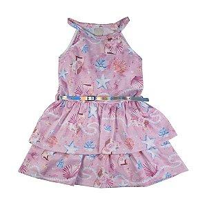 Vestido Conchas Infantil Menina Rosa
