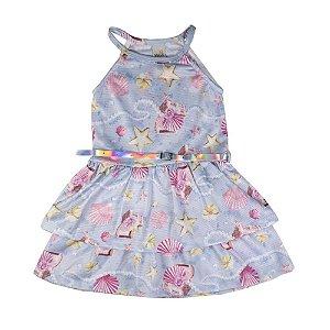 Vestido Conchas Infantil Menina Azul