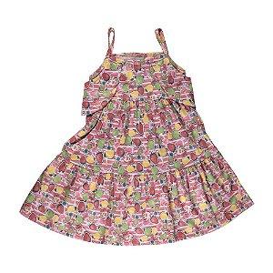 Vestido Ciganinha Flores Infantil Menina Pink